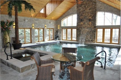 Indoor Oasis with a Pool, Hot Tub and Waterfall